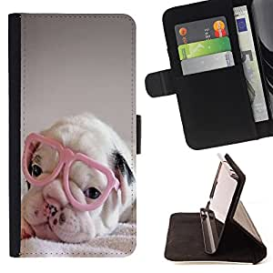Dragon Case- Caja de la carpeta del caso en folio de cuero del tir¨®n de la cubierta protectora Shell FOR Apple Iphone 5C- Bulldog Bull Dog Pet Puppy
