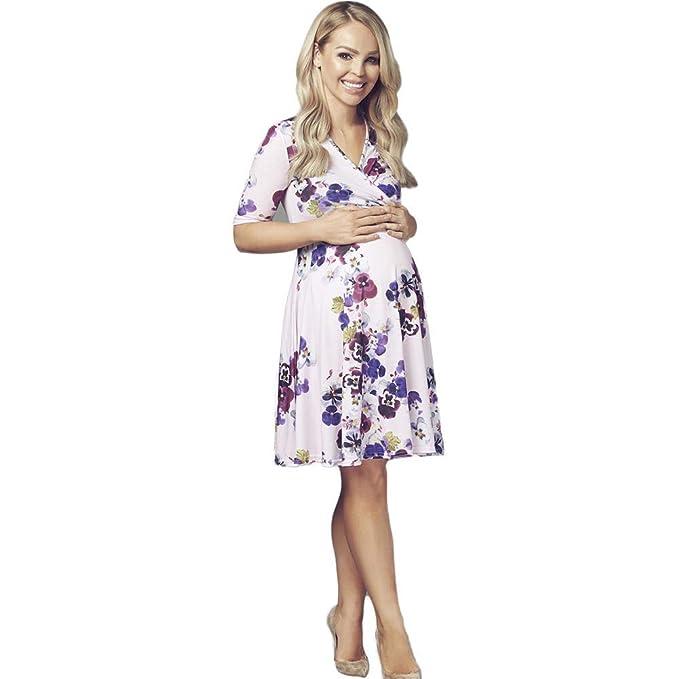 4af3021f5 Embarazo Vestido Mujeres 3 con 4 Cuello Manga Modernas Casual En V Vestido  De Maternidad Elegante Vintage Impresión Floral Moda Casual Maternidad  Desgaste ...