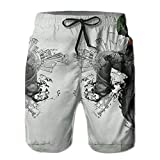 Men's Swim Trunks Hip Hop Street Dance Quick Dry Summer Casual Cool Beach Board Shorts Vacation Surfing Bathing Suit