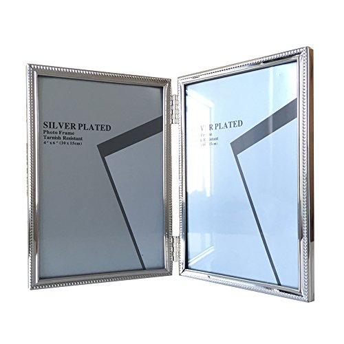 Photo Frame Multiple Photo Frame Collage Picture Display Metal Hinged Double Picture Frame Collage for Desktop Contracted Style for Home Decorative Nice Gift for Wedding Anniversary 4×6 Inch Silver