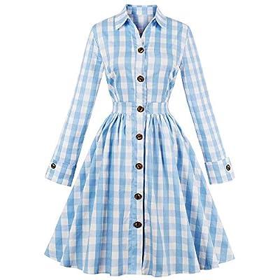 Women Plaid Pleated Waist Swing 1950s Vintage Dress with Pocket