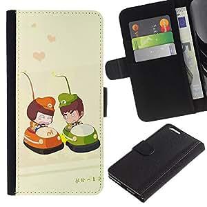 Ihec-Tech / Flip PU Cuero Cover Case para Apple Iphone 6 PLUS 5.5 - Cute Bumper Couple