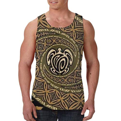FANTASY SPACE Dry Compression Sleeveless Vest Shirts for Men Boys Teens Adult Moisture Wicking Workout & Training Activewear Shirt T-Shirts Vests Loose-Fit Shirts, Hawaiian Tapa Honu Turtle Deluxe
