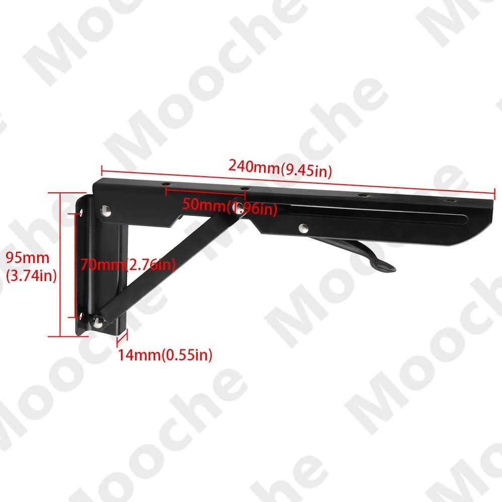 SJZ00710B-2P Mooche 2Pcs Folding Shelf Bracket Foldable Right Angle Bracket Metal Floating Heavy Duty Wall Hanging Support Shelf Iron Matt Black 240mm//10 Inch