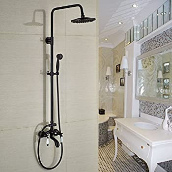 Rozin Luxury Bathroom Tub Shower Faucet Set 8 Inch Rain Head With Hand Sprayer Oil Rubbed Bronze