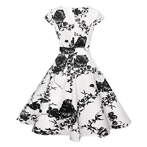 gaddrt Frauen Kleid Vintage Bodycon kurze Ärmel Casual Retro Abend ...