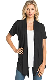 0796a105853 12 Ami Basic Solid Short Sleeve Open Front Cardigan (S-3X) - Made