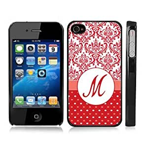 Initial M Red Damask Polka Dots Monogram Snap-On Cover Hard Carrying Case for iPhone 4/4S (Black)