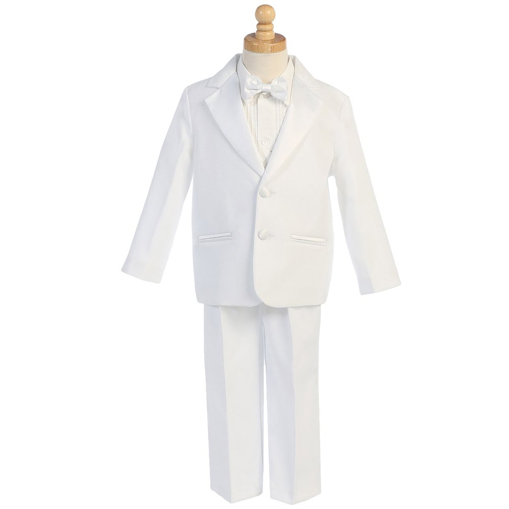 HBDesign Boys'4 Piece 2 Button Slim Fit Party Suite White (Jacket+Pants+tie+Corset) by HBDesign