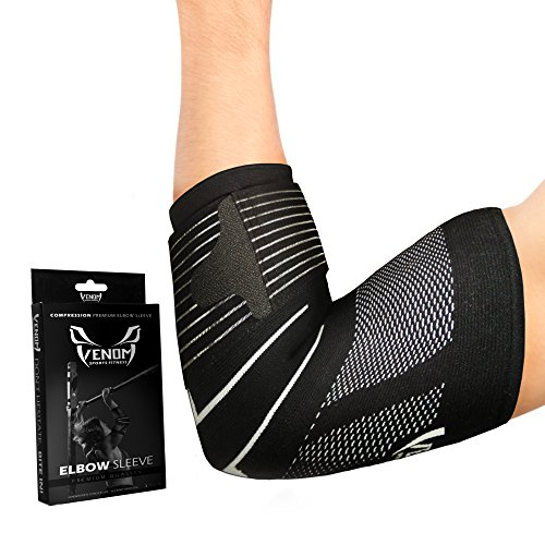 Venom Strapped Elbow Brace Compression Sleeve – Elastic Help, Tendonitis Ache, Tennis Elbow, Golfer's Elbow, Arthritis, Bursitis, Basketball, Baseball, Golf, Lifting, Sports activities, Males, Women – DiZiSports Store