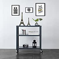 Urban Shop WK639813 Metal Rolling Bookcase, Grey