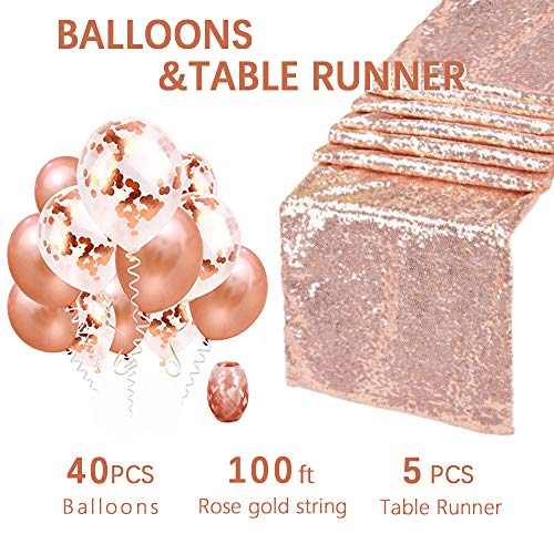 12x108 Inches Rose Gold Sequin Table Runners Wedding Table Runners-5 Pack and Confetti Balloons Rose Gold Latex Balloons for Party Festival and Home Decorations by QueenDream