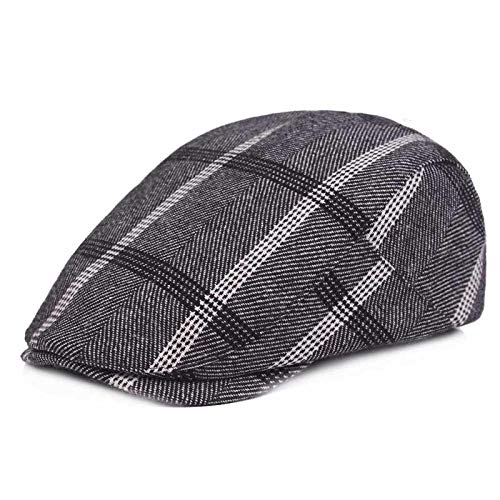 Quanhaigou Men's Newsboy IVY Hat, Cotton Flat Driving Cabbie Golf Cap Hunting Beret Dad Hats (Grey ()