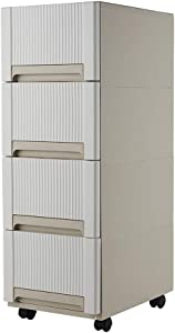YiYa Plastic Storage Bins with Drawers, Durable Plastic Drawers Organizer Cabinet Rolling with Wheels, White
