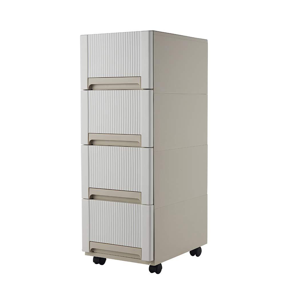 YiYa 4 Storage Drawers Cart, Durable Plastic Drawers Organizer Cabinet Rolling with Wheels, White by YiYa
