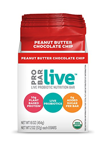 Probar Live Probiotic Nutrition Bar, Chocolate Chip Peanut Butter, 8 Count