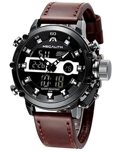 MEGALITH Mens Sports Watches Black Military Digital Gents Watch Leather Chronograph Waterproof Wrist Watches for Man Boys with Led Light Quartz Multifunction Cool Watches Alarm Stopwatch Calendar