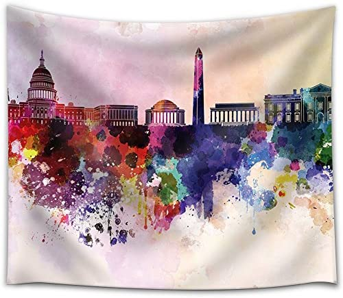 Colorful Rainbow Splattered Paint on The City of Washington DC