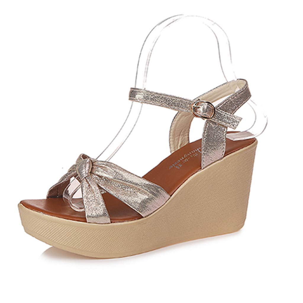 DATEWORK Women Ladies Fashion Wedges Buckle Causal Shoes Sandals