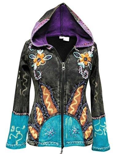 Sole Fiamme Black Giacca Hippie Fashion Cappuccio Donna Gotico Shopoholic PawEAqx