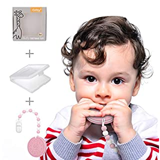 Baby Teether Teething Cookie Toys Silicone Teething Biscuit for with Teething Pacifier Clip Holder, Food-Grade Silicone BPA-Free Infant Toy for 0-24 Months Baby Boys & Girl (Pink)