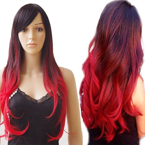 Red Queen Black Bob Wig (27 Inches Long Wavy Anime Cosplay Wigs for Women Girls Curly Ombre Two Tone Halloween Wigs with Side Bangs Sexy Beauty with Free Wig Cap Black to Red)