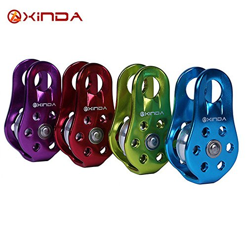 Hiking Climbing Single Fixed Pulley Mountaineering Rope Climbing Rappelling Survival Equipment Outdoor (Purple)