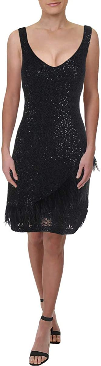 Laundry by Shelli Segal Womens Lace Faux Feather Trim Cocktail Dress