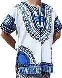 RaanPahMuang Bright White Cotton Africa Dashiki Plus Size Shirt Plain Front, XXX-Large, White Dark Blue