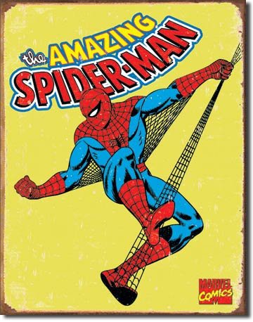"The Finest Website Inc. Marvel Comics Spiderman 16"" x 12.5"" (D1437) Nostalgic Aged Appearance Tin Sign"