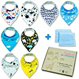 Bandana Baby Drool Bibs and Washcloths for Boys by Infant Dreams, 8-Pack Bibs 2-Pack Washcloths 100 Percent Organic Cotton, Cute for Newborn Baby Shower. Soft, Absorbent and Hypoallergenic