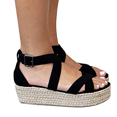 a6d18549126e Athlefit Women s Criss Cross Strap Platform Sandals Band Open Toe Ankle  Buckle Espadrille Sandals Size 5.5