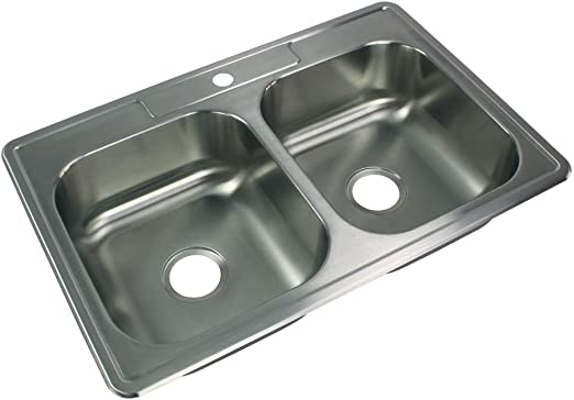 """Drop-In Top Mount 33/"""" x 22/"""" x 7/"""" Stainless Steel Double Kitchen Sink with Faucet"""
