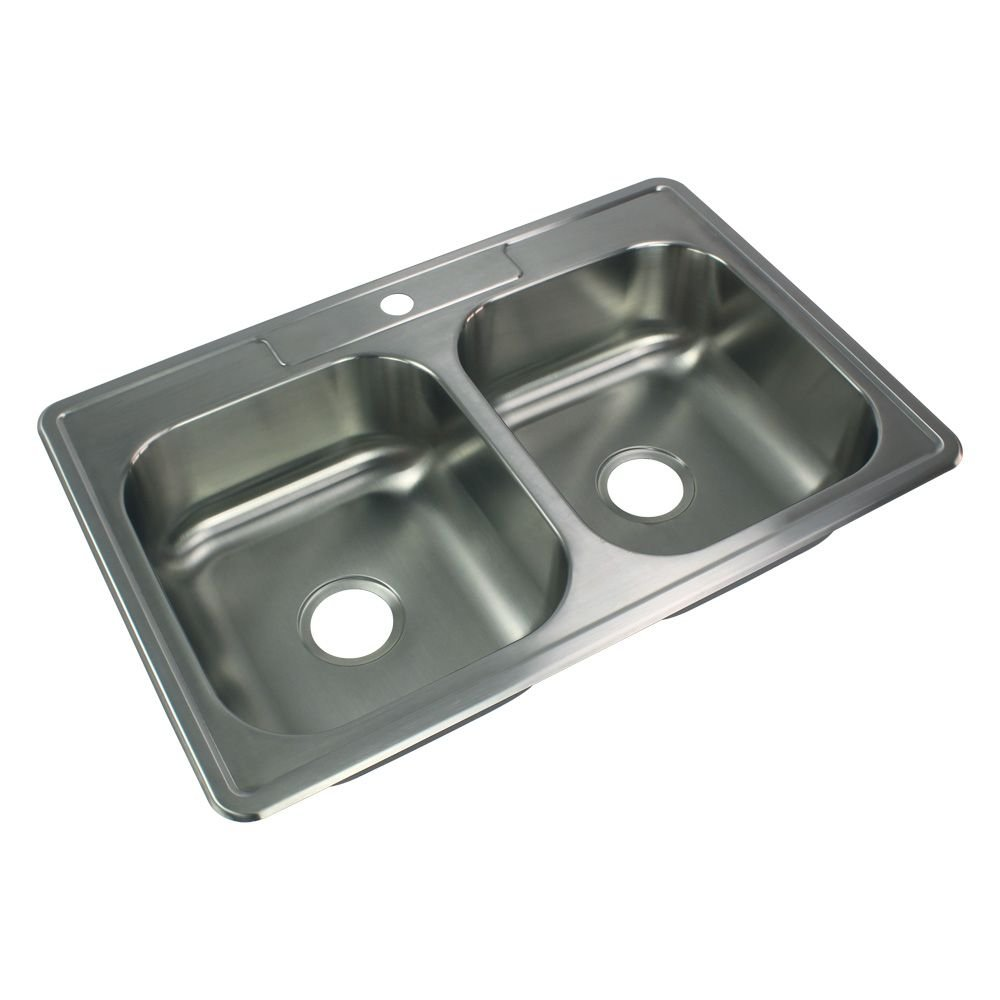 Transolid STDE33227-1 Select 1-Hole Drop-in 50/50 Double Bowl 20-Gauge Stainless Steel Kitchen Sink, 33-in x 22-in x 7-in, Brushed Finish by Transolid