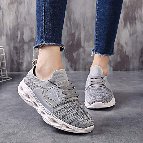 Gris Baskets Femmes Chaussures Sneakers forme Wedges Plate Minceur Marche Aptitude Osyard qvOIwxI