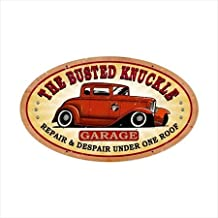 Past Time Signs BUST022 Busted Knuckle Garage Automotive Oval Hot Rod Metal Sign