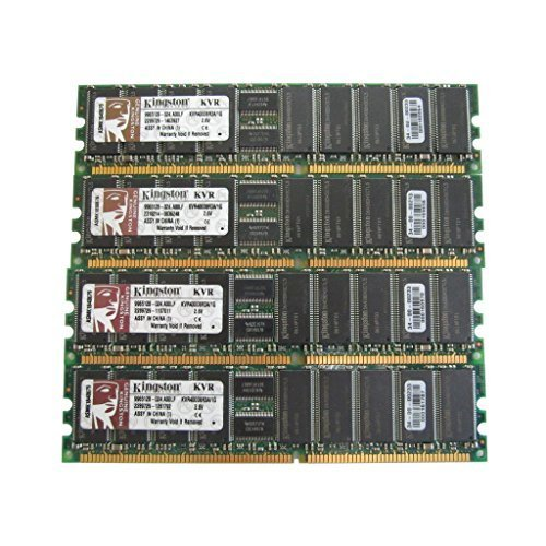 (Kingston KVR400D8R3A/1G 1GB PC3200 DIMM DDR-400MHz ECC Reg CL3 184-Pin Memory Pack of 4 )