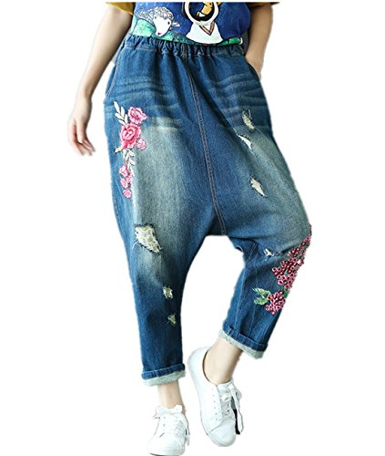 YESNO PA1 Women Casual Loose Cropped Denim Pants Embroidered Jeans Ripped Distressed Low Crotch