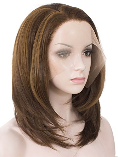 Imstyle Short Bob Lace Front Wigs Brown Straight Synthetic Wig For Women Heat Resistant 2 Tone Light Brown Color With Natural Hairline Part Freely Shoulder Length