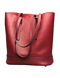 Myosotis510 Women's Genuine Leather Tote Bucket Bag Purse