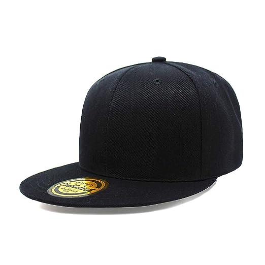 Flat Visor Snapback Hat Blank Cap Baseball Cap - 8 Colors (Black) at ... 8c2b55f9700