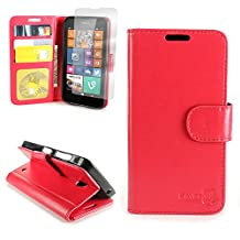 CoverON® for Nokia Lumia 635 Wallet Case [CarryAll Executive Series] High Quality Synthetic Leather Flip Credit Card Phone Cover Pouch - (Red)