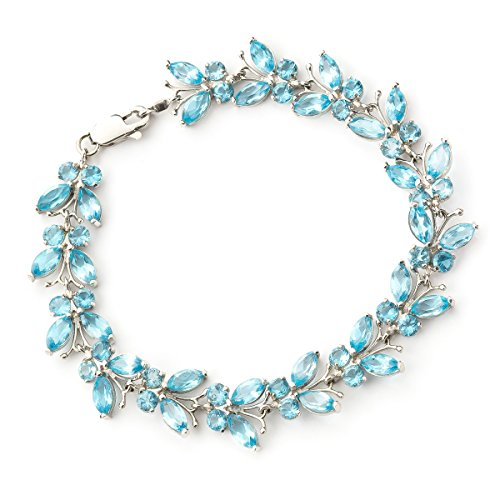 QP joailliers Bracelet en or blanc 9ct Topaze Bleu naturel, 16,50-Coupe Marquise-2631W