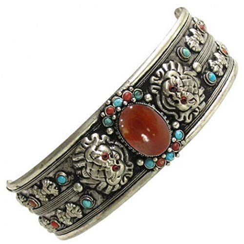 Giant Tibetan Big Agate Turquoise Red Coral Gemstone Dorje Dragon Cuff Bracelet #ID-335 Dragon Red Coral Bracelet