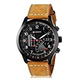 BLUTECH 2017 New Collection Curren Festive Season Special Black Round Shapped Dial Brown Leather Strap Party Wedding | Casual Watch | Formal Watch | Sport Watch | Fashion Wrist Watch For Boys and Men | Curren M-8152