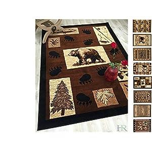 Handcraft Rugs Cabin Rug – Lodge, Cabin Nature and Animals Area Rug – Modern Geometric Design Cabin Area Rug – Abstract, Chocolate/Beige–Bear/Footprint/Trees/Fishing Equipment (2x 3 feet Doormat)