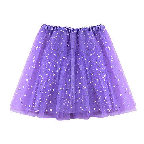 Women Short Skirt Tutu Vintage Ballet Petticoat Pleated Tulle Classic High Waist Lace Mini Skirts (Free Size, Light Purple)