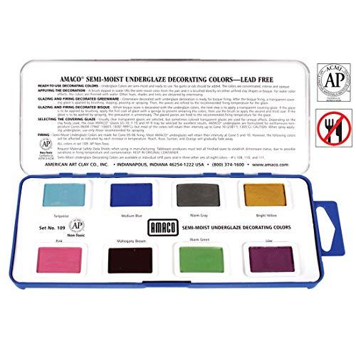 AMACO Non-Toxic Semi-Moist Underglaze Set - B in Pan, 1.5 oz, Assorted Color, 8 Color