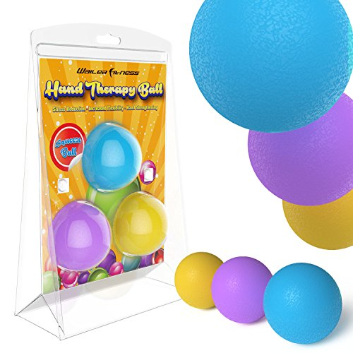 Therapeutic Ball Exercise (Wailea Fitness Hand Therapy Balls Exercises - Squeeze Ball - Home Exercise Kits - Hand Grips (3 pack))