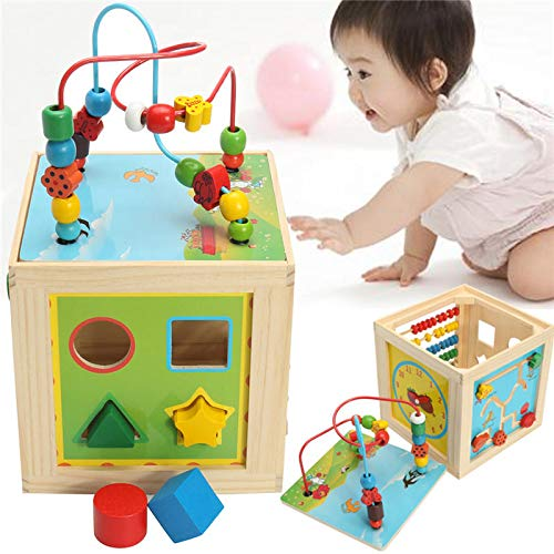 5 in 1 Kids Multi Function Colourful Wooden Activity Cube Toys Puzzle Bead Maze - Learning & Education Developmental Toys - 1 x Leak Light ()